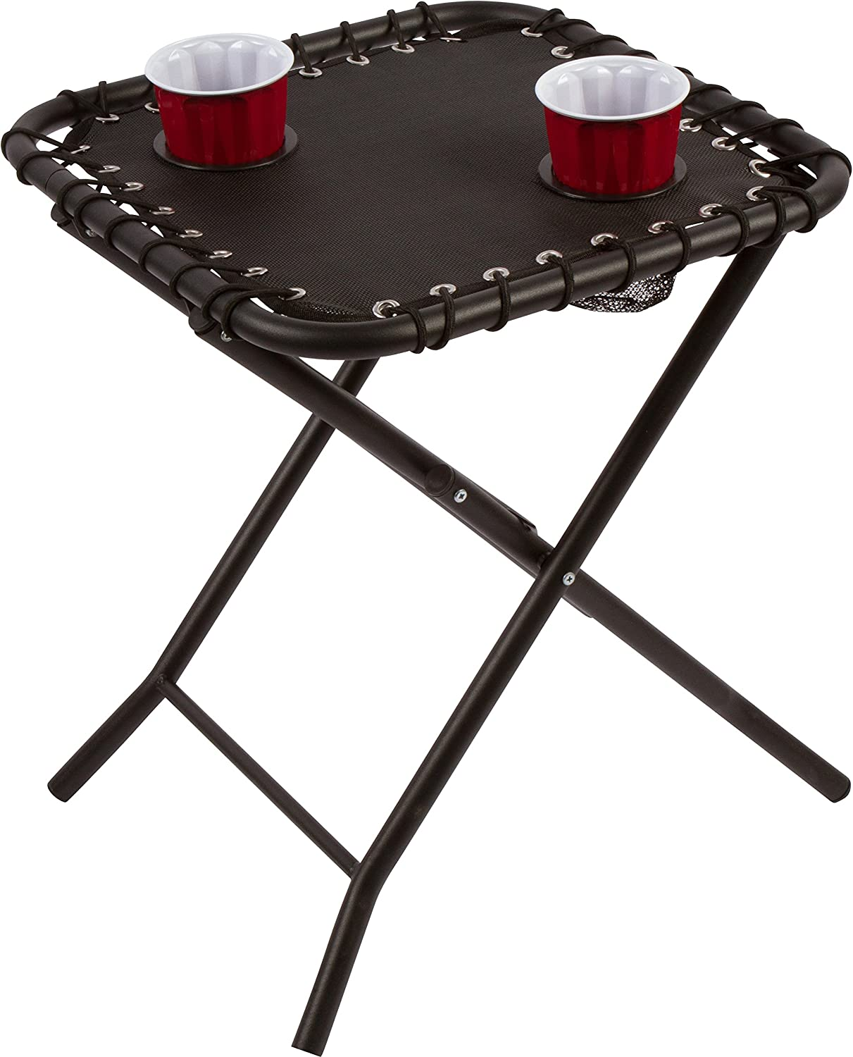 17.5 Folding Textaline Side Table with Mesh Drink Holders for Camping, Patio, Picnics by Trademark Innovations