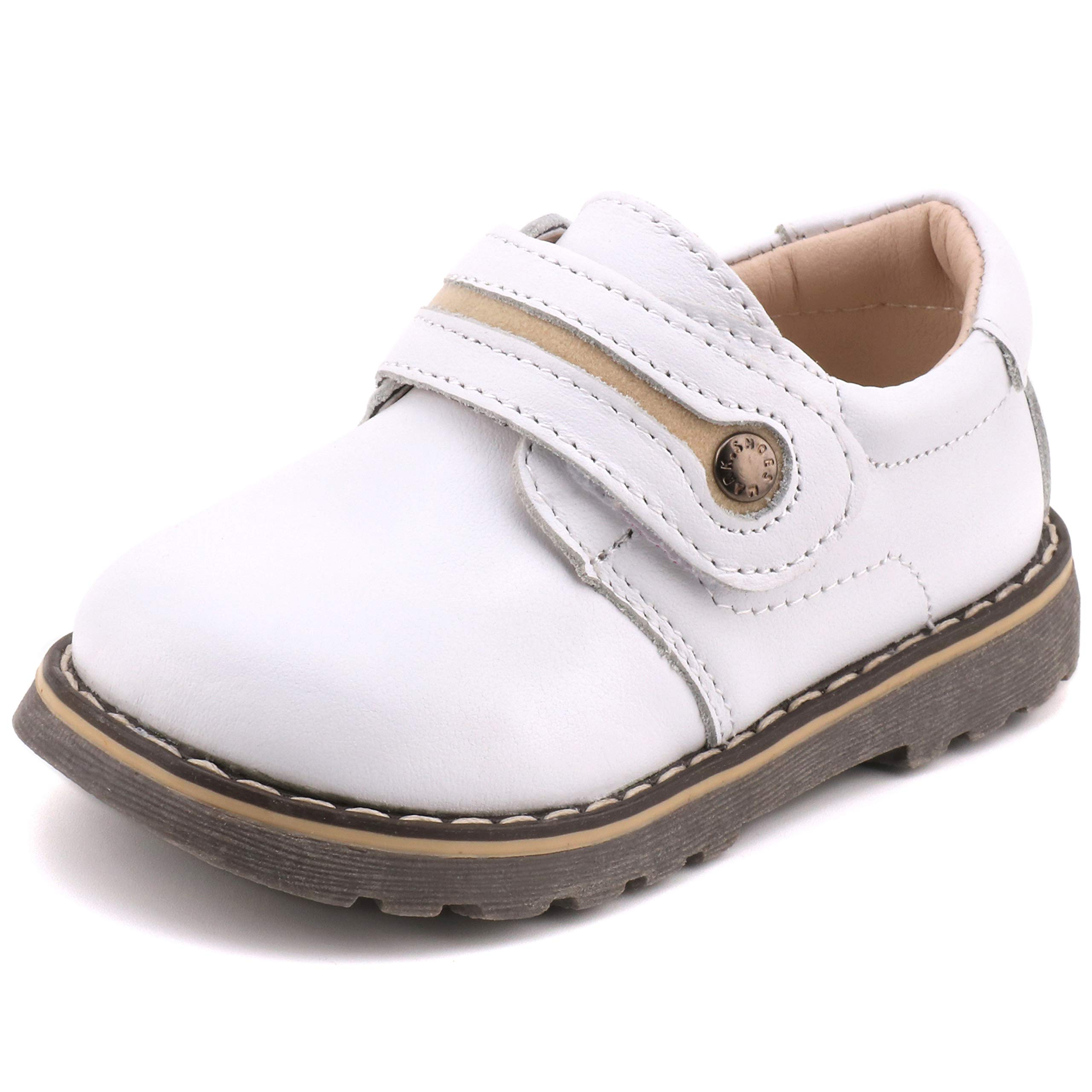 Femizee Toddler Boys Leather Loafers Comfort Uniform Oxford Dress Wedding Shoes, White, 1327 CN26