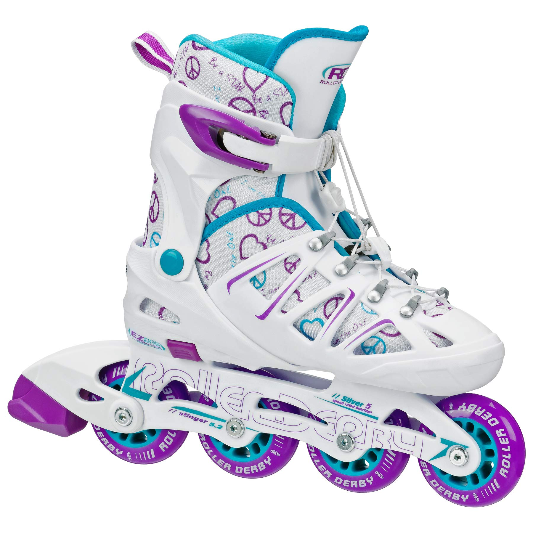 Roller Derby Girl's Stinger 5.2 Adjustable Inline Skate, Medium by Roller Derby
