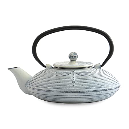 BergHOFF Japanese-Style Cast Iron Dragonfly Teapot, White, 800 ml