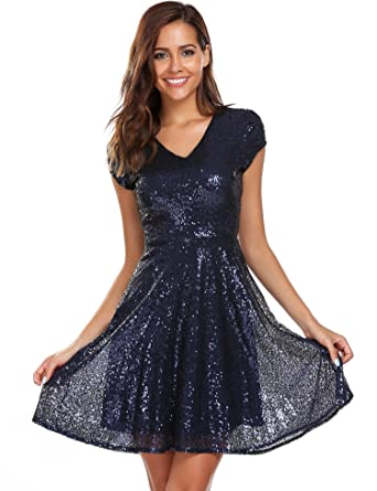 Unibelle Plus Size Cap Sleeves Sequins Skater Cocktail Club Dress Black