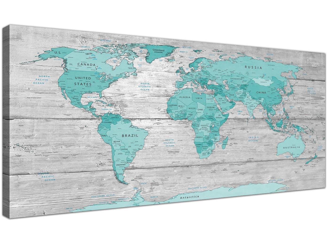 Große Blaugrün Grau Weltkarte Atlas Leinwand Wand Kunstdruck 120 cm ...