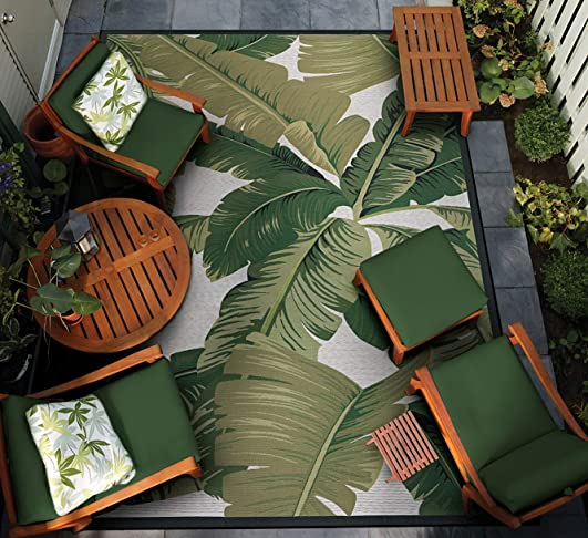 Couristan Dolce Palm Lily Hunter Green-Ivory Indoor/Outdoor Area Rug Review