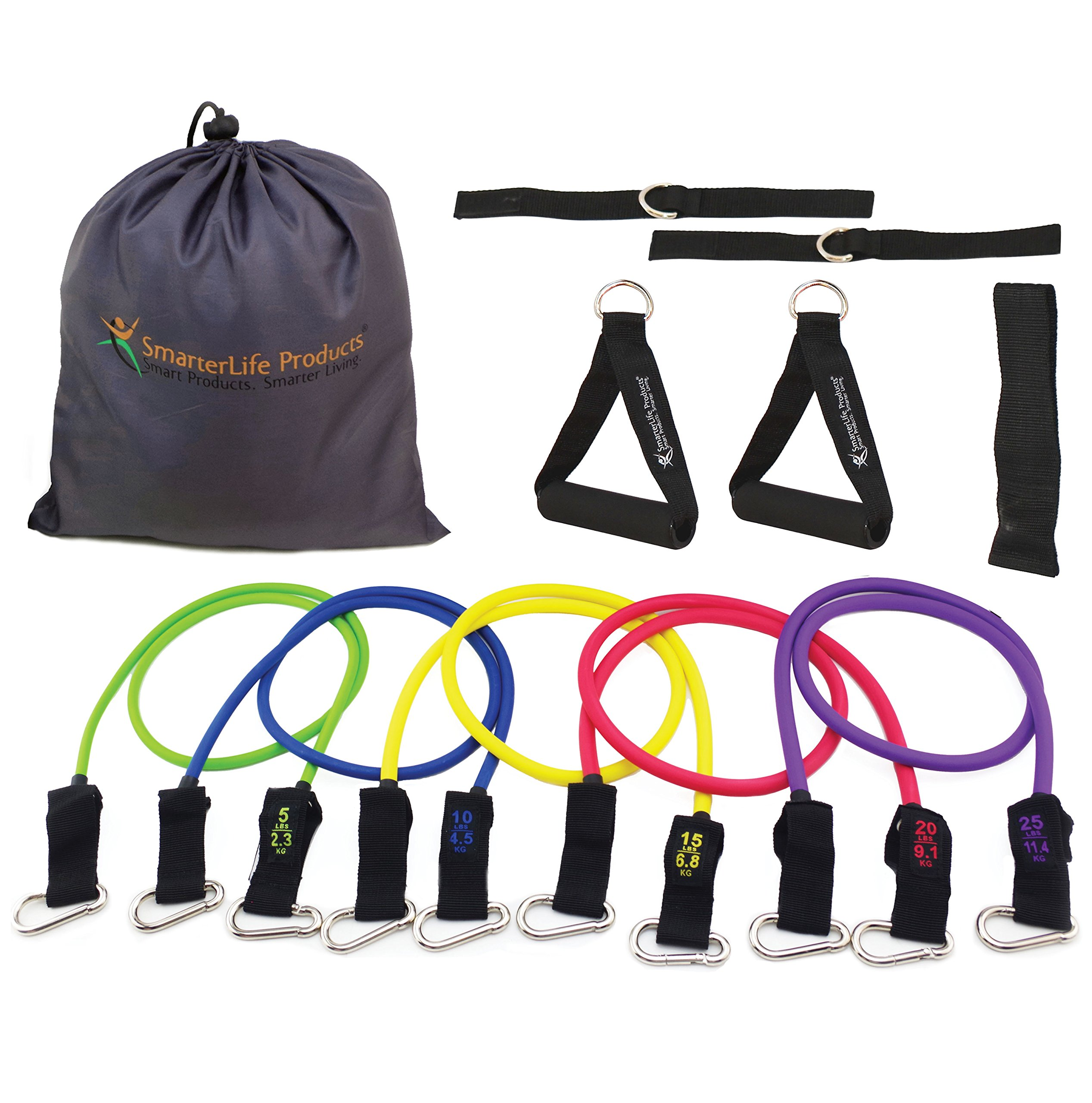 Resistance Bands Set for Legs and Butt - Portable Exercise Bands for Travel, Physical Therapy and Home Gym (5 Band Set with Padded Handles (2), Ankle Straps (2), Door Anchor, Travel Pouch) by SmarterLife Products