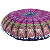 Third Eye Export - 32 In Mandala Barmeri Large Round Floor Pillow Cover Cushion Meditation Seating Ottoman Throw Cover Hippie Decorative Zipped Bohemian Pouf (Purple)