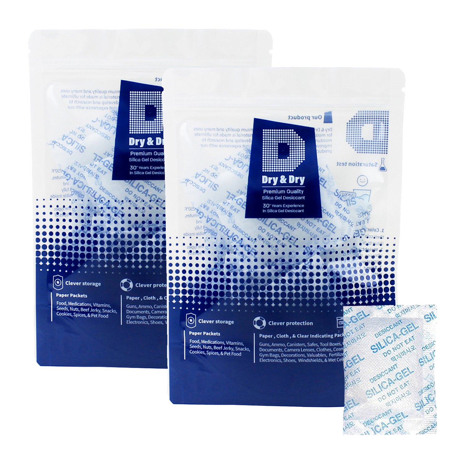 Dry & Dry 5 Gram [120 Packets] Premium Pure & Safe Silica Gel Packets Desiccant Dehumidifiers - Rechargeable Fabric Silica Packets for Moisture by Dry & Dry