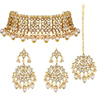 Aheli Traditional Jewelry Gold Color Kundan Choker Necklace Jewelry Set for Women Girls