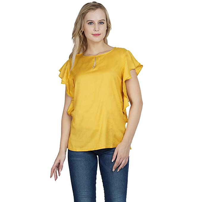 3e11784274c2d7 Patrorna Blended Girl's Raglan Sleeve Crop Tops in Mustard Yellow (Size 2-3  Years