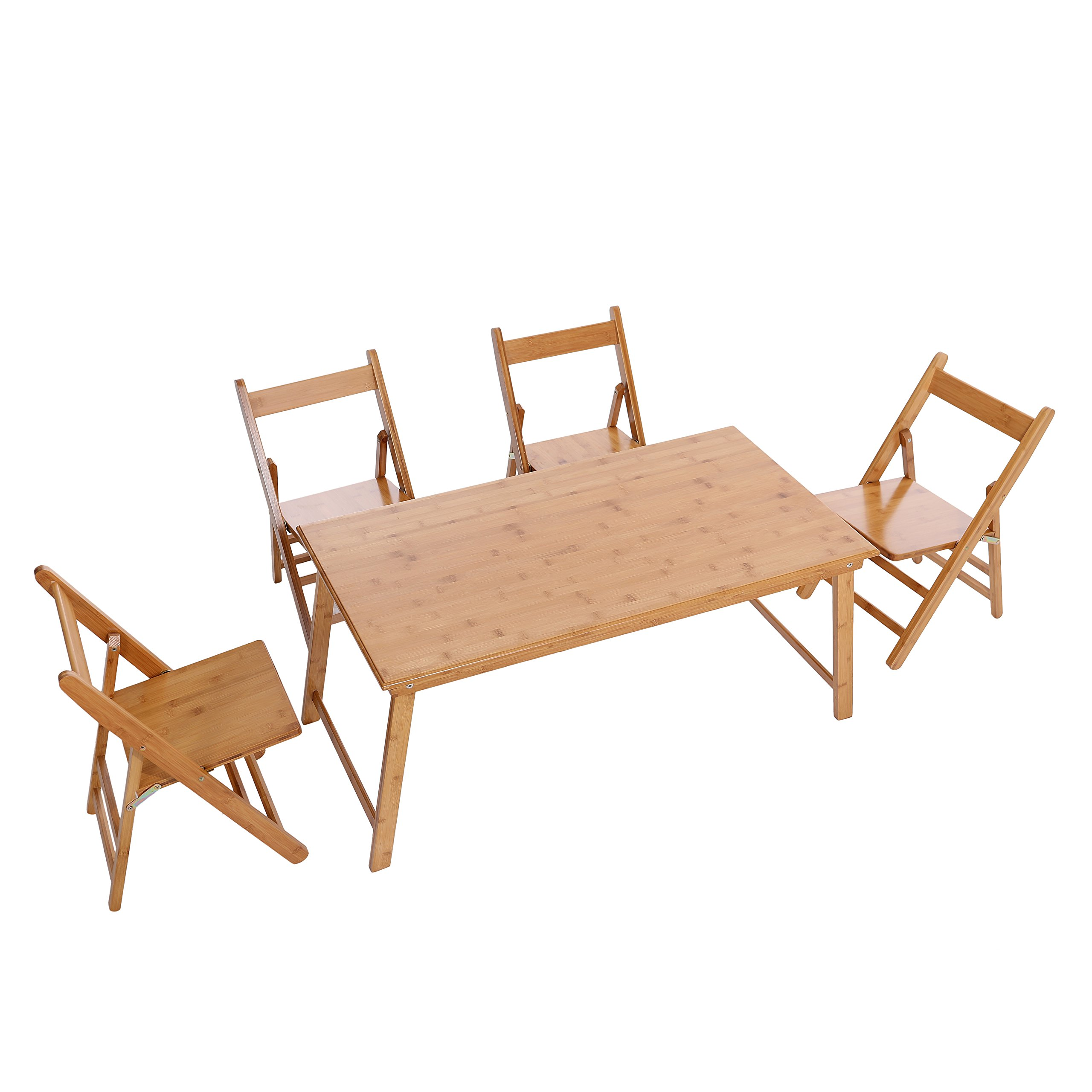 - UNICOO – Bamboo Rectangular Folding Table With 4 Folding Chairs, 5