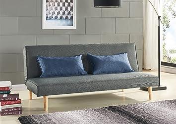 Schlafsofa Sofabett Couch Bett Grau Mit 2 Blaue Kissen Amazonde