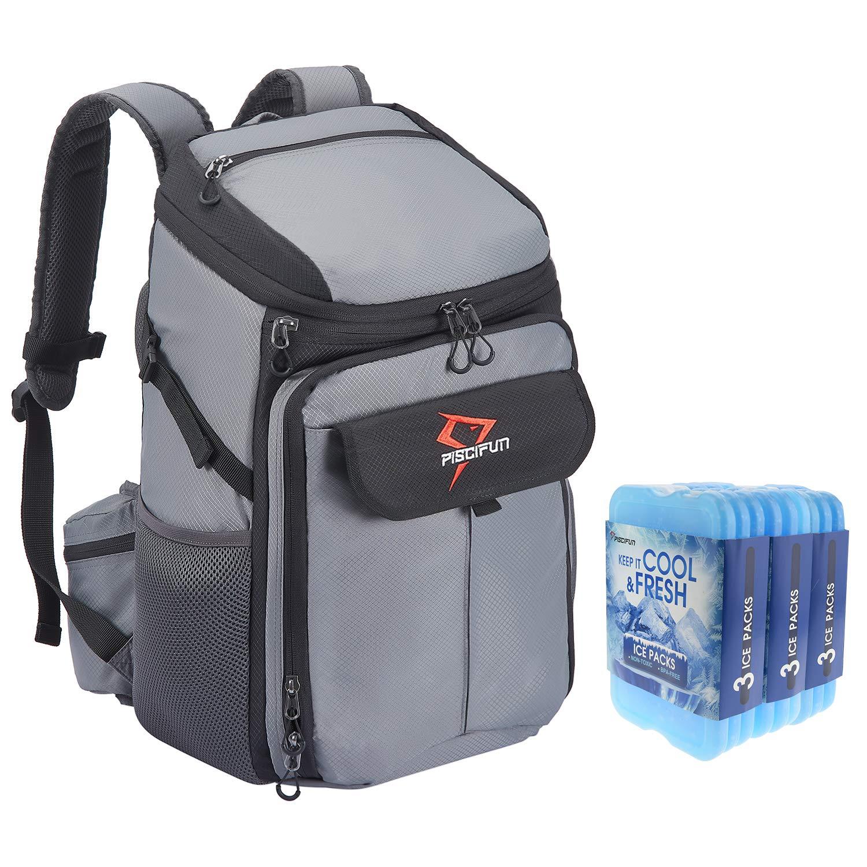 Piscifun クーラーバックパック 9個パック クールクーラー Lサイズ 断熱 漏れ防止 クーラーバッグ 男女兼用 食品や飲み物を冷たく新鮮に保ちます グレー with 9 Pack Cool Coolers