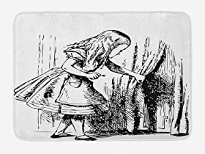 """Ambesonne Alice in Wonderland Bath Mat, Black and White Alice Looking Through Curtains Hidden Door Adventure, Plush Bathroom Decor Mat with Non Slip Backing, 29.5"""" X 17.5"""", Black and White"""