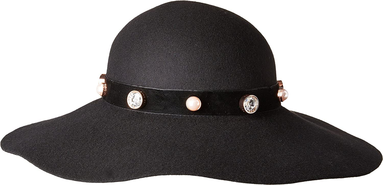 Ted Baker Women s Crystal + Pearl Studded Floppy Hat Black One Size   Amazon.co.uk  Clothing d8e5d7be539