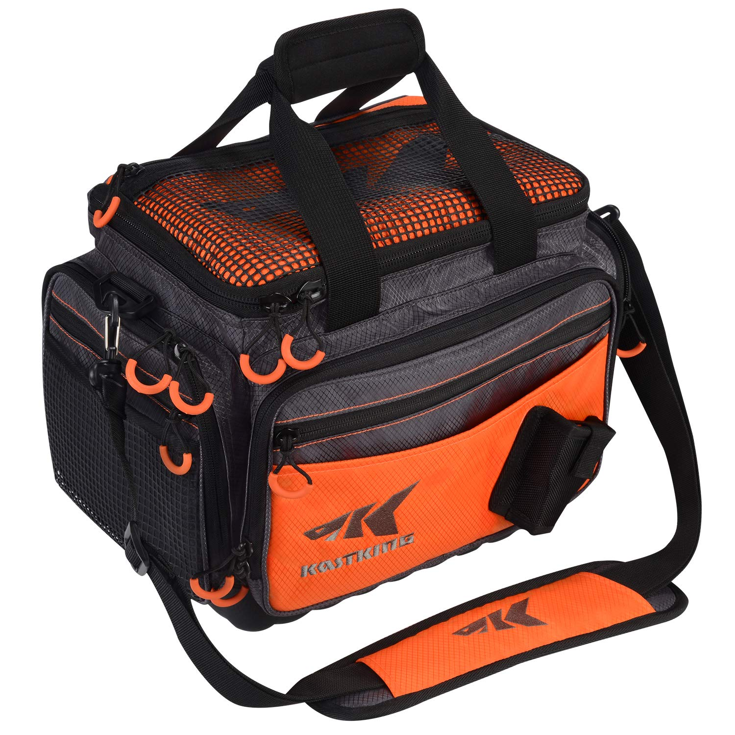 KastKing Fishing Tackle Bags, Fishing Gear Bag, Saltwater Resistant Tackle Bag, Large Waterproof Fishing Bag,Medium-Hoss(Without Trays, 15x11x10.25 Inches), Orange by KastKing