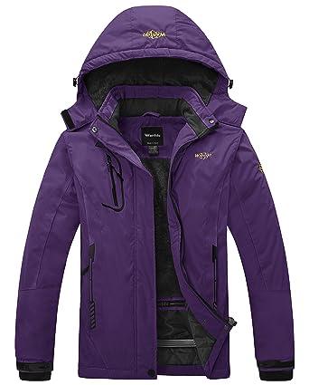ae34011f23 Wantdo Women s Waterproof Mountain Jacket Fleece Windproof Ski Jacket  Outdoor Jacket (US S) Dark