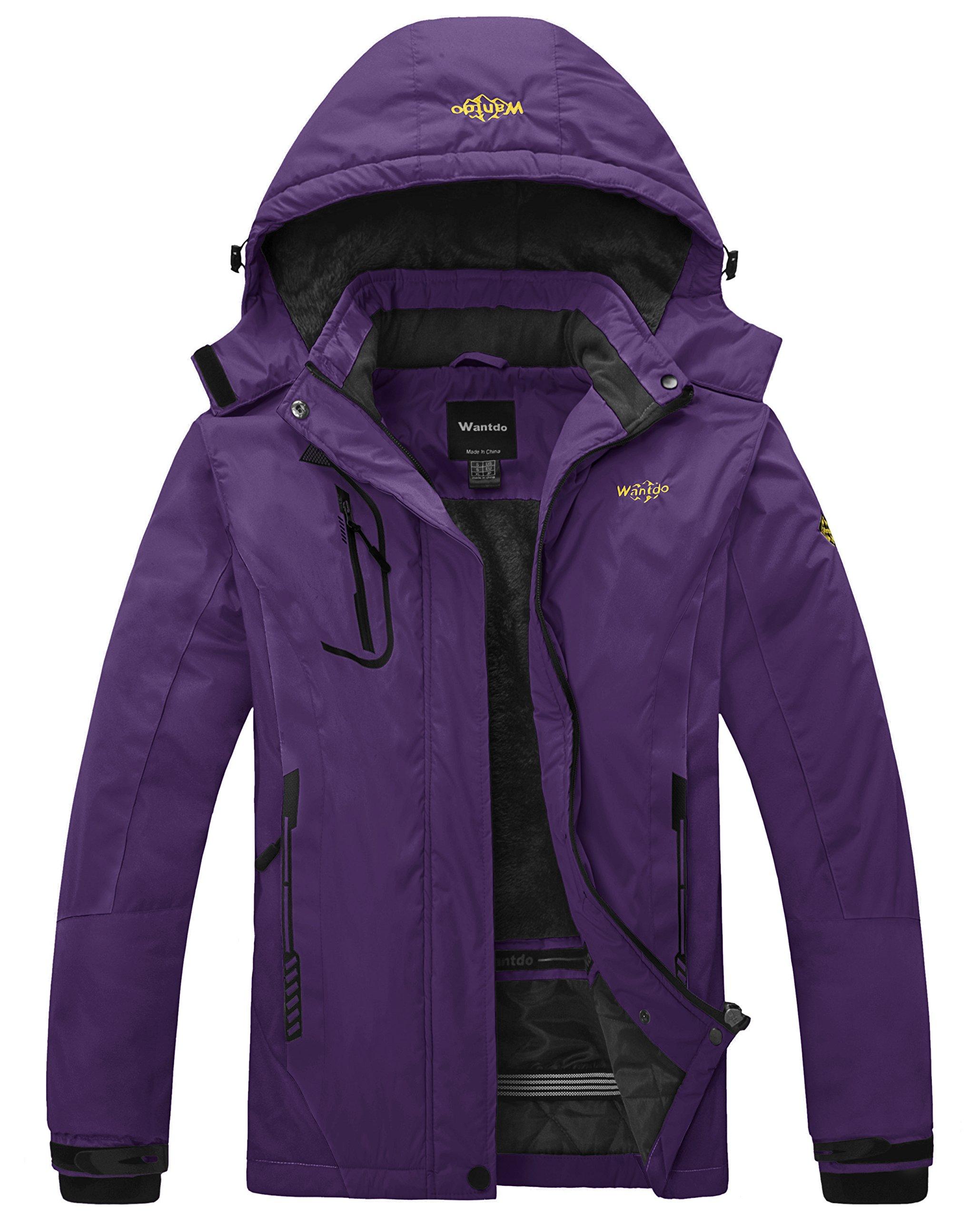 Wantdo Women's Waterproof Mountain Jacket Fleece Windproof Ski Jacket Outdoor Jacket (US S) Dark Purple
