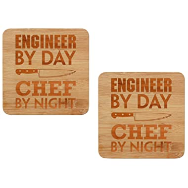 Engineer Gifts Engineer by Day Chef by Night Funny Engineering Gifts Trivet Set 2-Pack Wooden Hot Pads