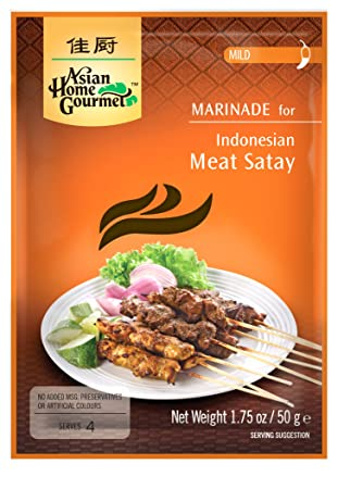 Amazon.com : Asian Home Gourmet Indonesian Satay (Mild), 1.75-Ounce Packages (Pack of 12) : Gourmet Marinades : Grocery & Gourmet Food