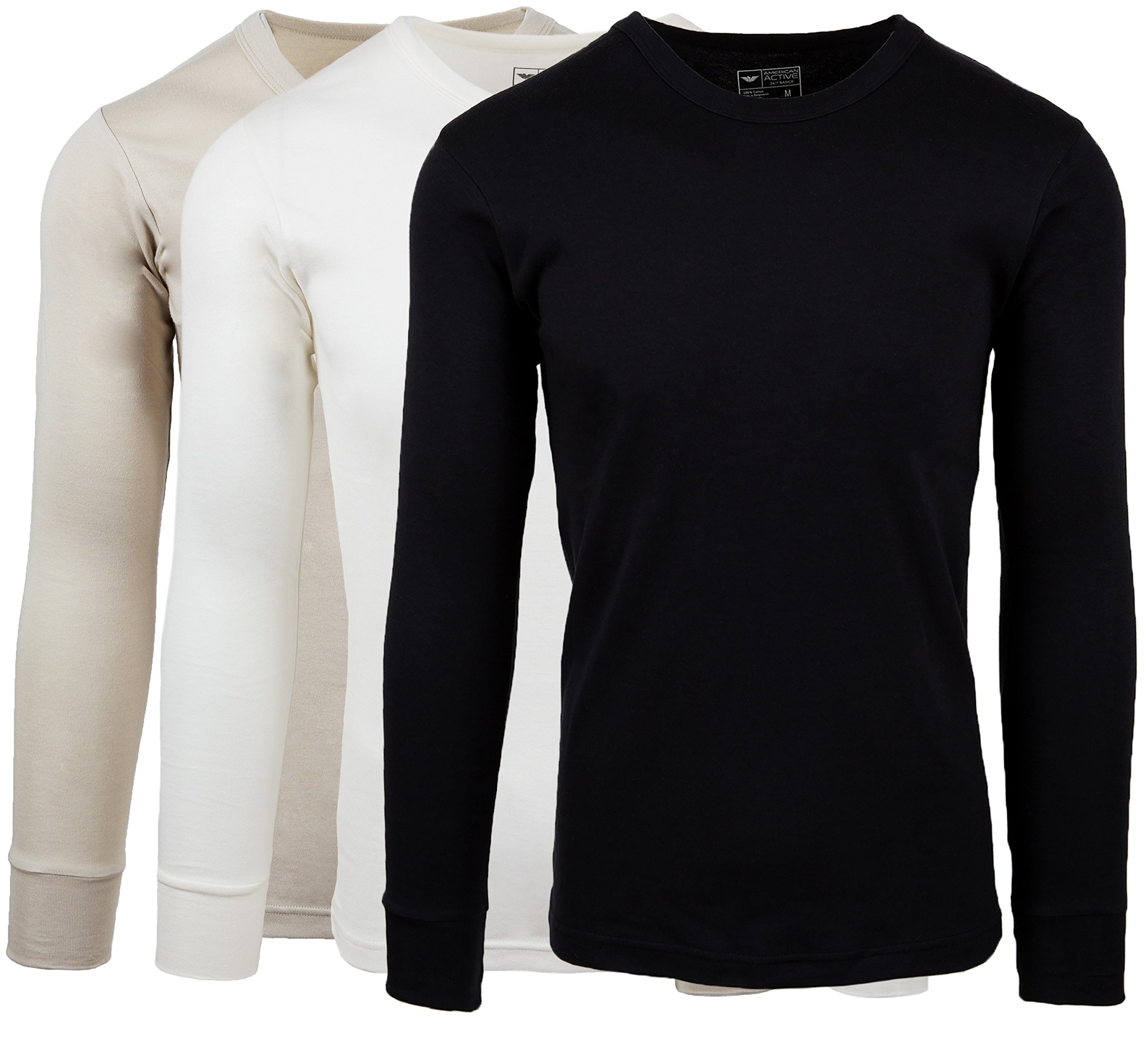 AMERICAN ACTIVE Men's 3 Pack 100% Cotton Fleece Lined Base Layer Long Sleeve Thermal Crew Neck Shirt (3 Pack-Black/Cream/Stone, Small) by AMERICAN ACTIVE