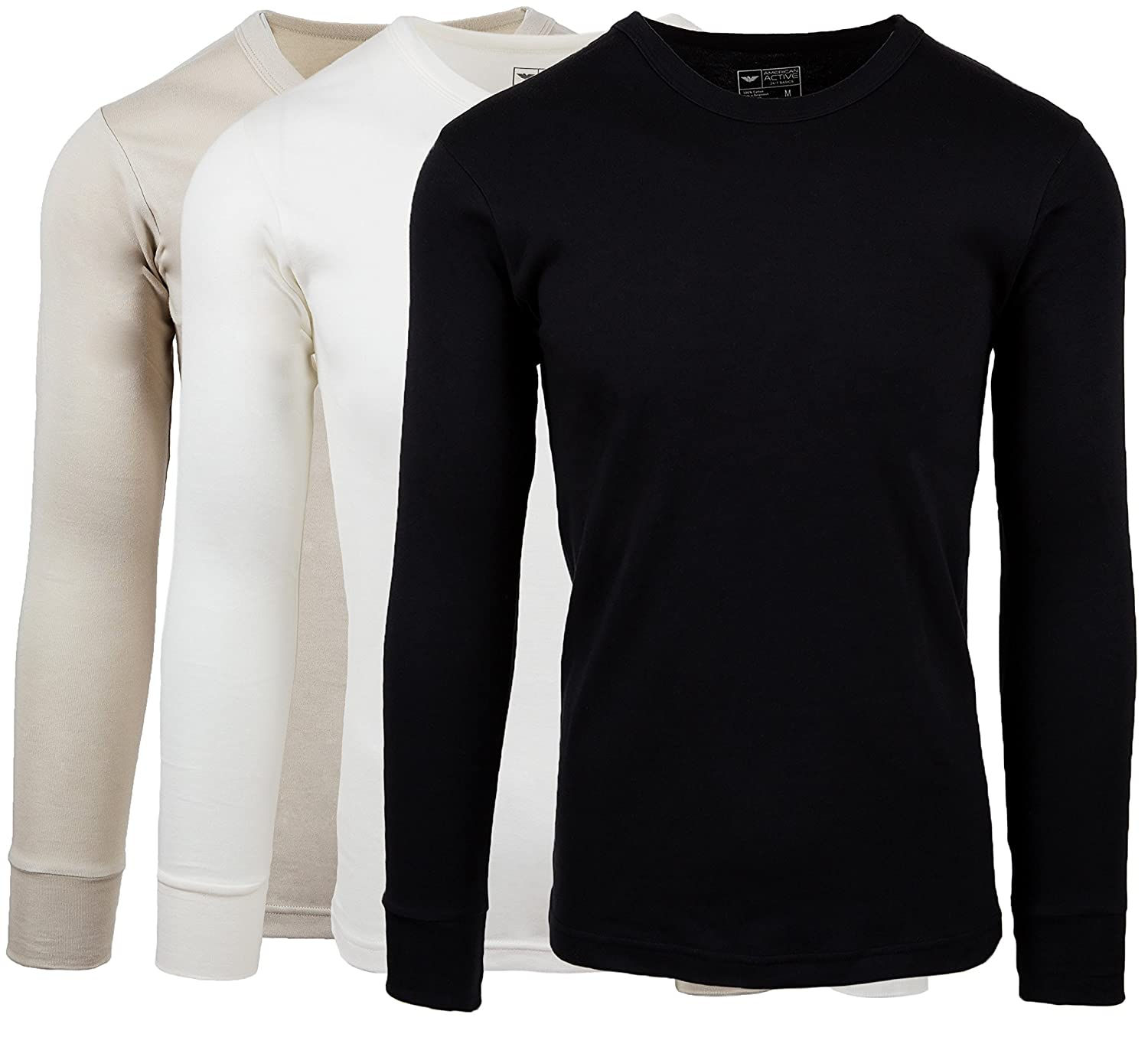 178c90aefb698 AMERICAN ACTIVE Men s 3 Pack 100% Cotton Fleece Lined Base Layer Long  Sleeve Thermal Crew Neck Shirt at Amazon Men s Clothing store