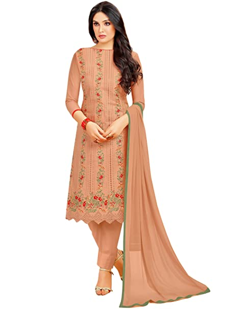 ffa44308dd Rajnandini Women's Cotton Embroidered Dress Material (JOPLMF2013, Light  Brown, Free Size)