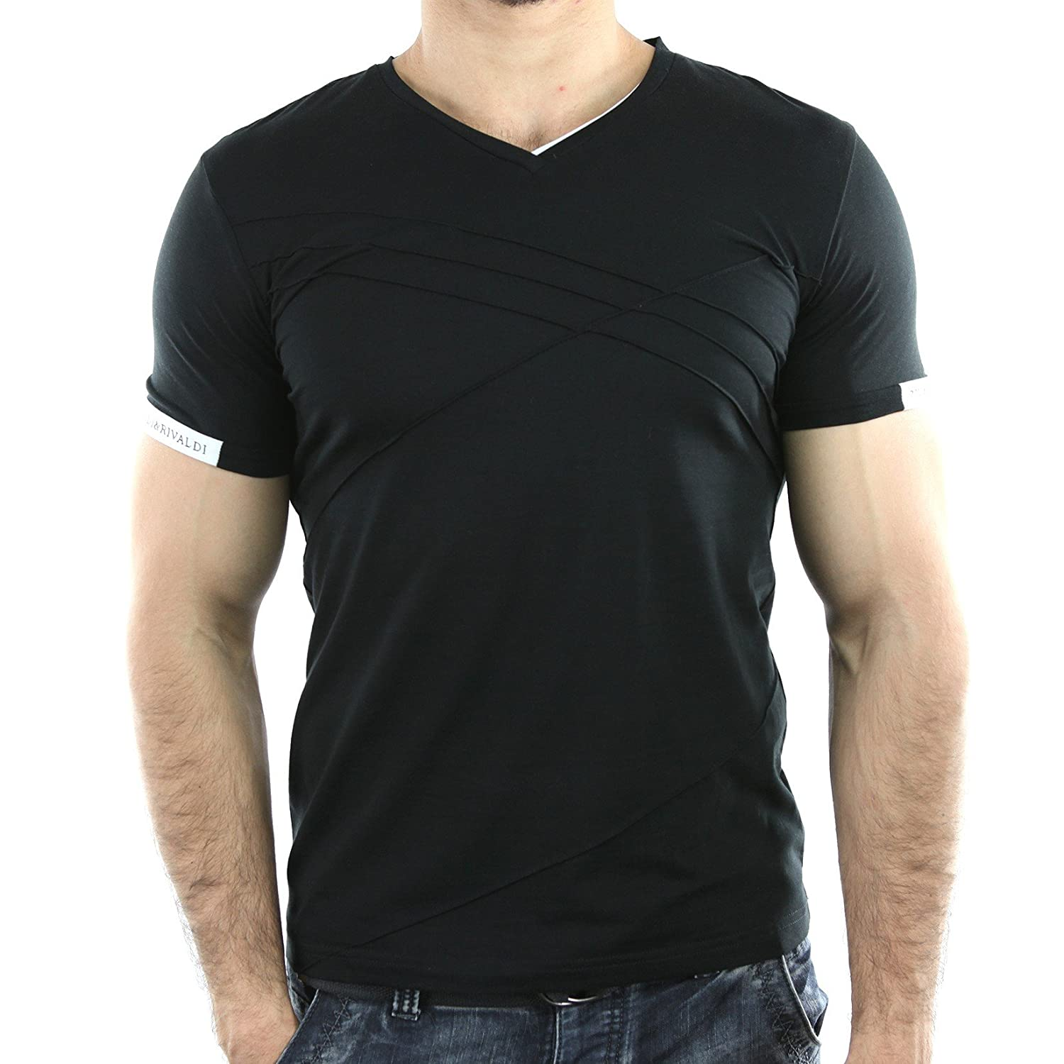 Solamode - T-Shirt V-Neck - Rivaldi - Mibrid - Unisex - Fashion - Black - Attention! Recommended to choose one size more than your normal size