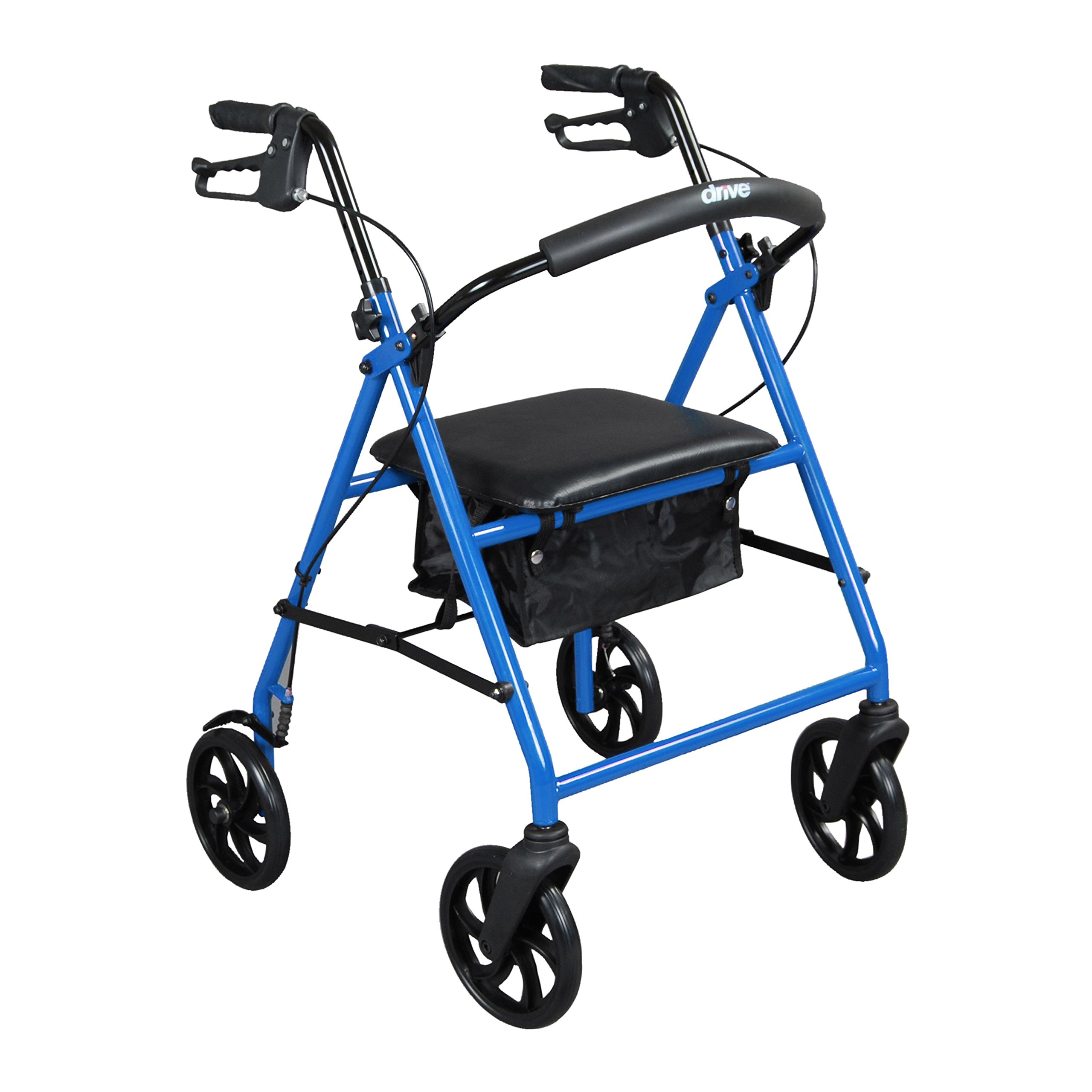Drive Medical Steel Walker Rollator with 8 Inch Wheels, Blue by Drive Medical