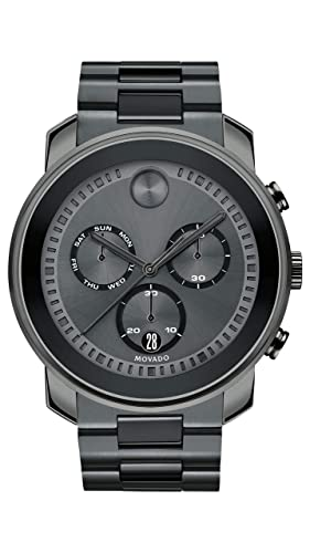 Movado Men s BOLD Large Metals Chronograph Watch with a Printed Index Dial, Grey 3600486