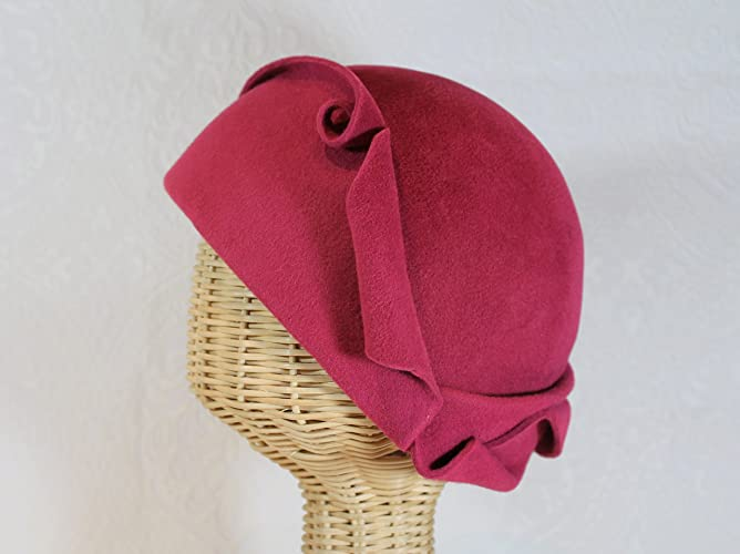 Retro Vintage Style Hats 20s Cora Cloche Hat in Raspberry Velour Felt $195.00 AT vintagedancer.com