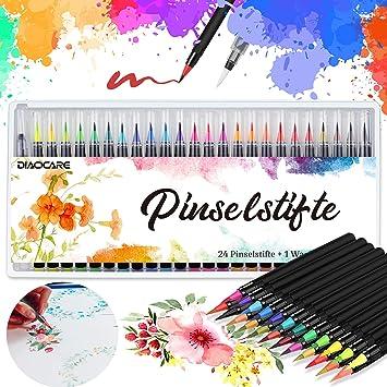 Watercolour Brush Pens,DIAOCARE 24 Colour+1 Water Brush,Brush Pens Set with Pens