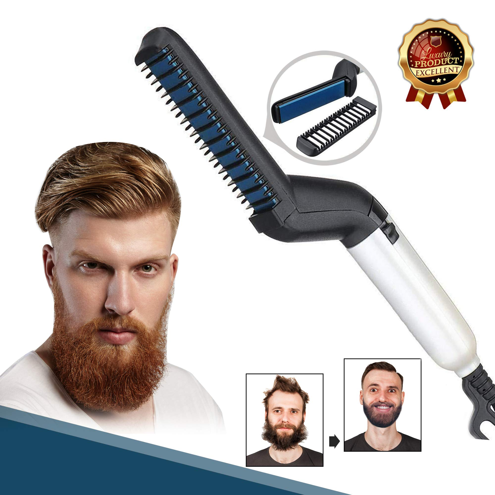 Electric Comb for Men, Hair and Beard Straightening Comb - Hair styling for Men - Adjustable Temperature with Ergonomic Design