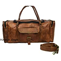 Genuine Leather Vintage 24 inch Round Zip Duffel Bag Overnight Bag Cabin Bag Carry On Sports Duffel Weekender Holdall Travel