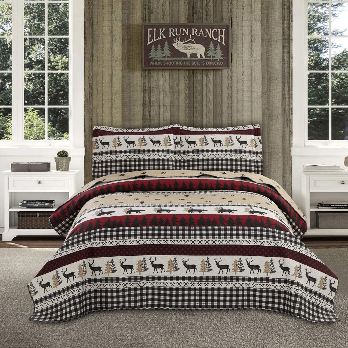 Lodge Quilt Set King Size,Bedding Lightweight Cabin Quilts Set,3Pcs Rustic Moose Bear Bedspreads Reversible Lodge Coverlet Sets Deer Tree Printed Quilt Pillow Shams