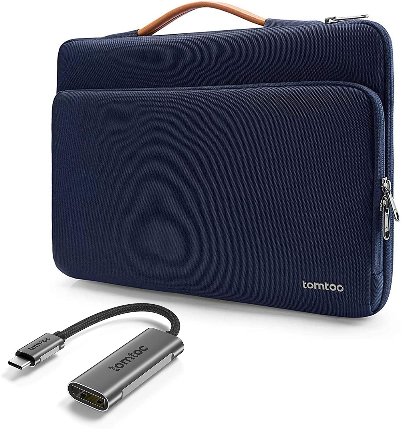 tomtoc 360 Protective Laptop Carrying Case with USB-C to DisplayPort 1.4 Adapter 4K 60/120Hz for 13-inch MacBook Pro, MacBook Air with Retina Display, 12.9-inch iPad, Dell XPS 13, Surface ProX/7/6/5/4
