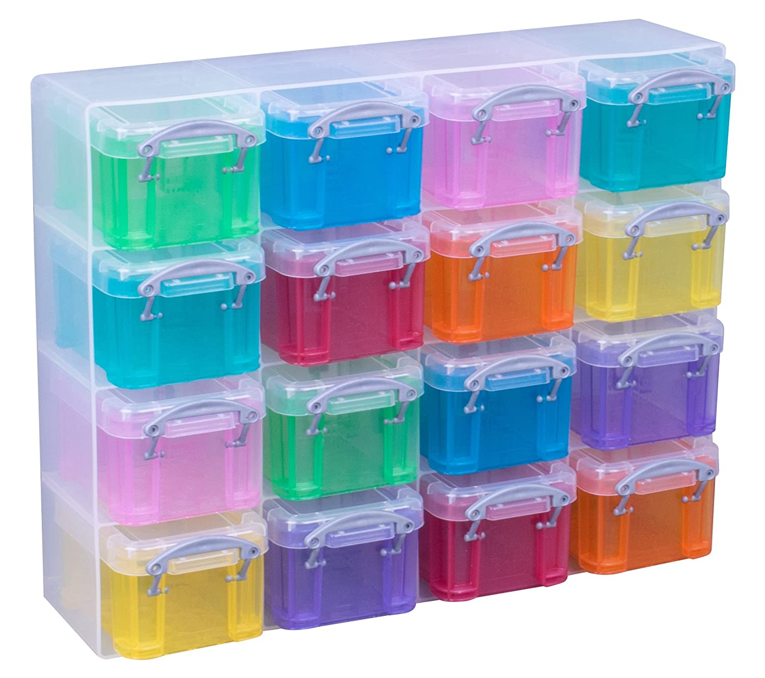 Really Useful Box Organiser, 16 x 0.3 Litre Storage Boxes in a Clear Plastic Organiser and Assorted Coloured Boxes Really Useful Products Ltd 20137