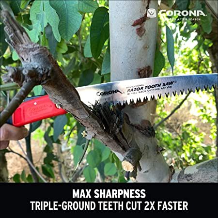 """Corona 14/"""" 3-Sided Stainless Steel Razor Tooth Pruning Saw Finger Hook RS7395"""