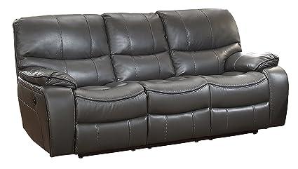 Homelegance Pecos Modern Design Power Double Reclining Sofa Leather Gel  Match, Gray