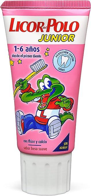 Licor del Polo Junior - Dentífrico con flúor y calcio, para 1-6 ...