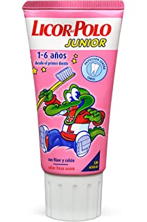 Licor del Polo Junior - Dentífrico con flúor y calcio, para 1-6 años