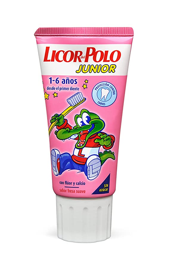 Licor del Polo Junior - Dentífrico con flúor y calcio, para 1-6 años con sabor fresa suave, 50 ml: Amazon.es: Amazon Pantry