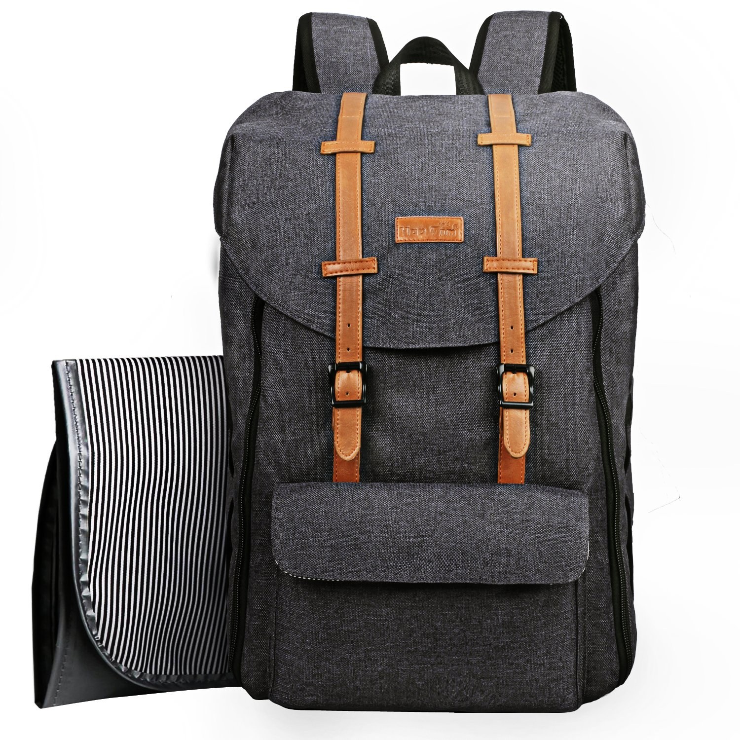 HapTim Travel Baby Diaper Bag Backpack, Large Capacity Double Deck DesignEasy Organize Comfortable Fashion for Newborn Mother FatherGrey 5312 Hap Tim