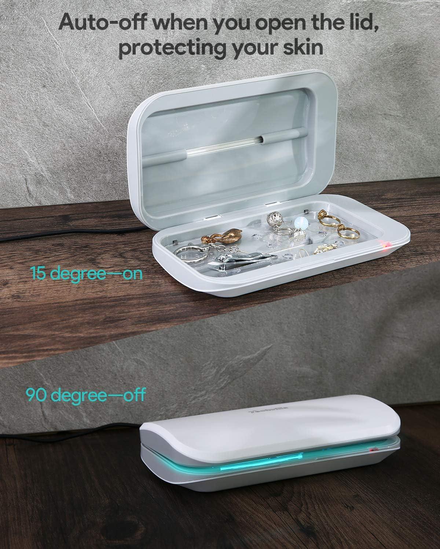 Smartphone Caja de UV Port/átil Cargador de Tel/éfono Caja de Desinfecci/ón para M/óviles//Joyas//Relojes Luz Utravioleta Esterilizador UV de Tel/éfono Celular Caja de Desinfectante