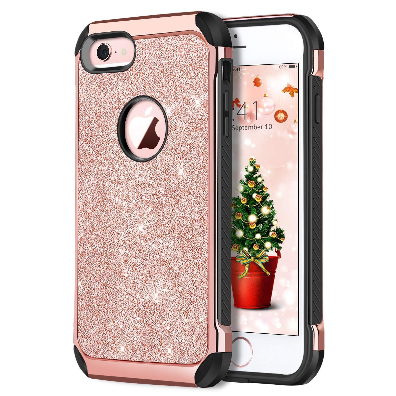 iPhone 6 sケース、iPhone 6ケースDUEDUE耐衝撃性のある高級キラキラブリンブリンハイブリッドハードカバーとキラキラのどのような合皮ソフトTPU保護カバーフィットガール女性、ローズゴールド   B07FF3CCKL