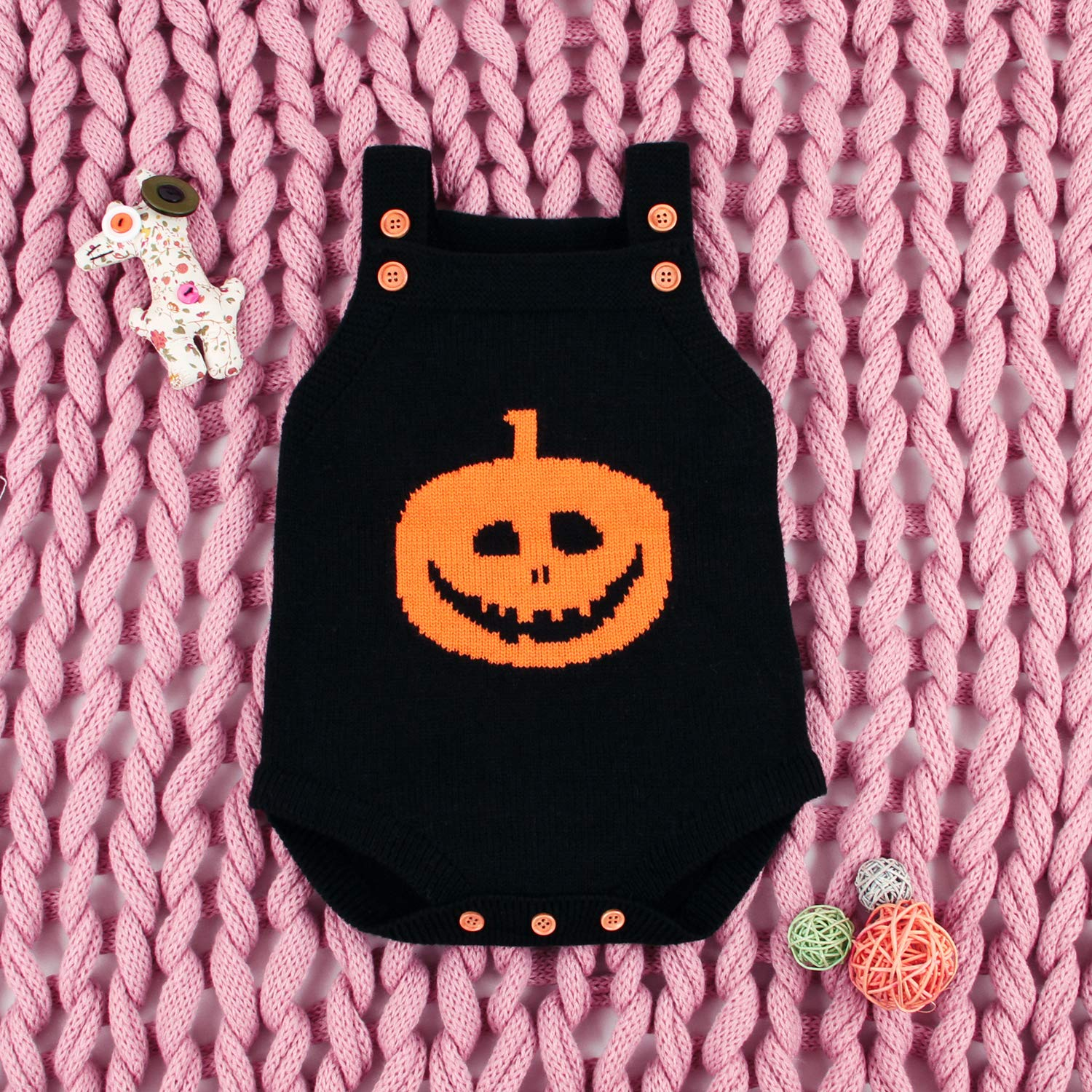 Halloween Infant Jack O Lantern Pumpkin Babies Clothes Outfit Baby Knit Rompers Jumpsuit