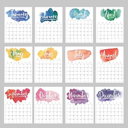 2019 Calendar Rainbow Watercolor Monthly Planner 16 Sheets Loose