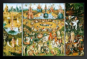 Hieronymus Bosch Garden of Earthly Delights Triptych Art Print Black Wood Framed Poster 14x20