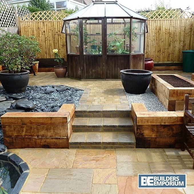 Durmientes de madera tratada para jardín de 125 mm x 250 mm x 2,4 ...