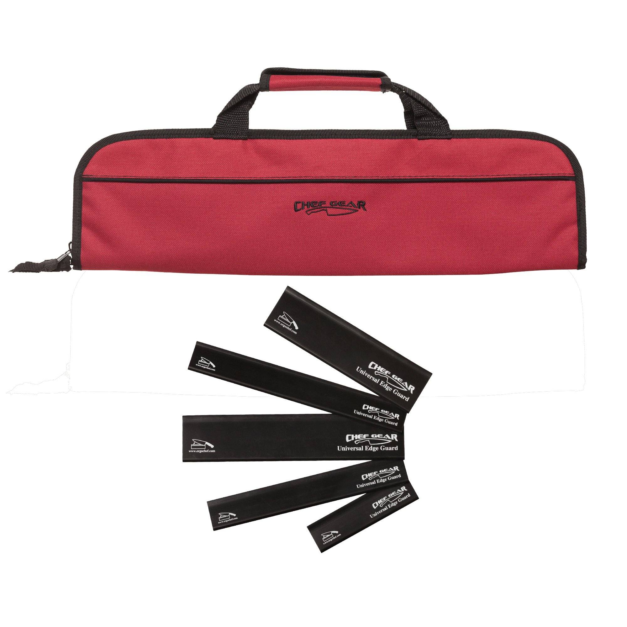 5 Pocket Padded Chef Knife Case Roll with 5 pc. Edge Guards (Red 5 Pocket bag w/5pc. Black Edge guards)