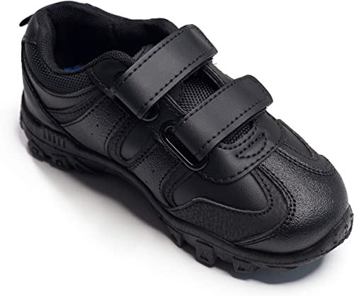 Boys Navy School Shoes Touch Strap Kids Childrens Scuff Resist Cushion Padding