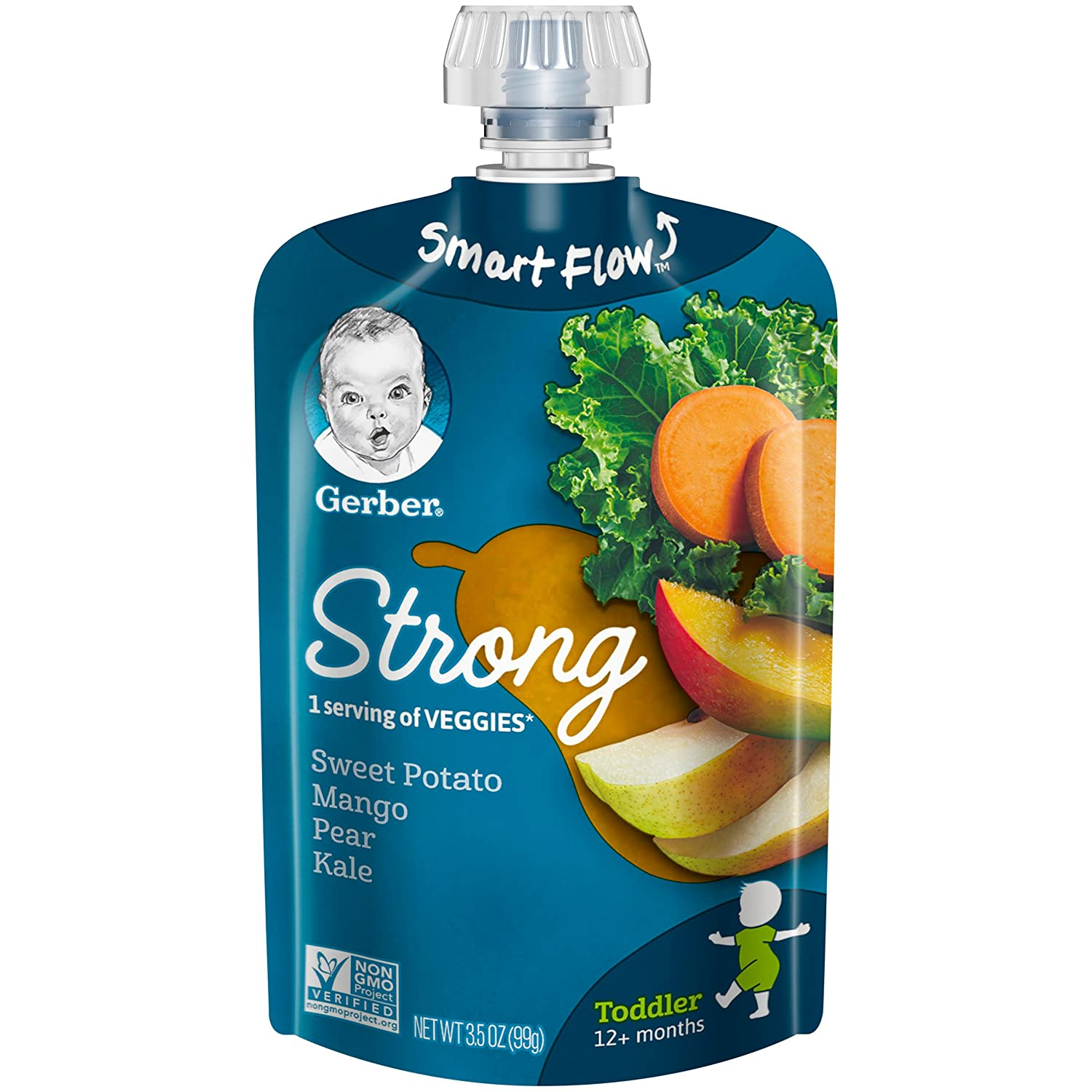 Gerber Purees, Sweet Potato, Mango, Pear & Kale Toddler Food, 3.5 Ounce Pouch (Pack of 12)